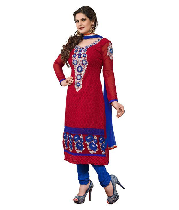 Krizel Red Georgette Unstitched Dress Material