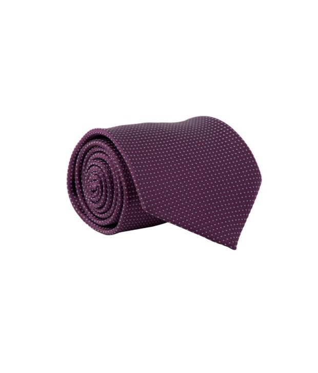 LEO Mens Tie Purple White Dots