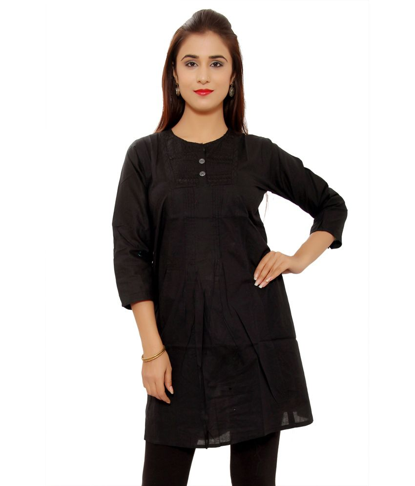 Aakashi Black Cotton Plain Round Neck Kurti