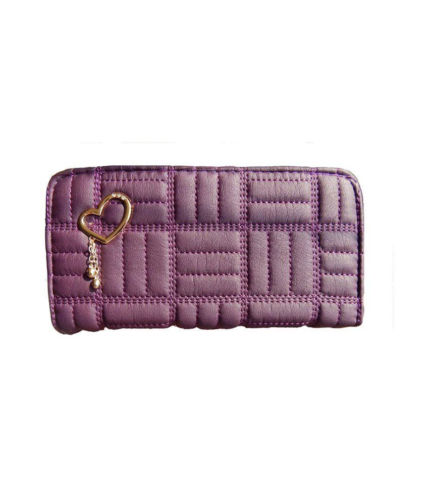 Corrido India Purple Zip Clutch With Four Compartment