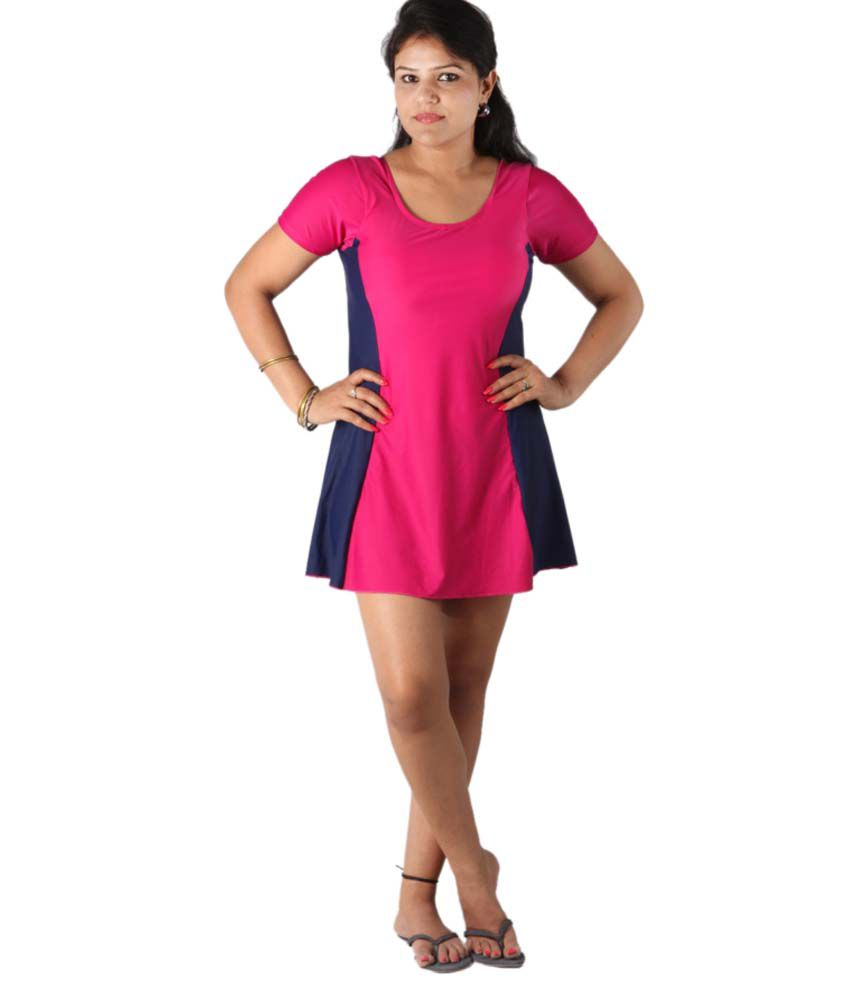 Indraprastha Pink And Blue Swimsuit With Shorts/ Swimming Costume
