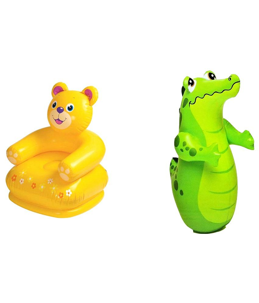 Intex Inflatable Intex Inflatable Plastic Combo Pack Of Teddy Chair & Crocodile