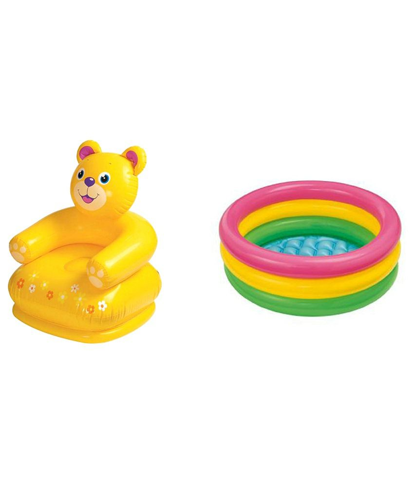Intex Inflatable Intex Inflatable Plastic Combo Pack Of Teddy Chair & Tub