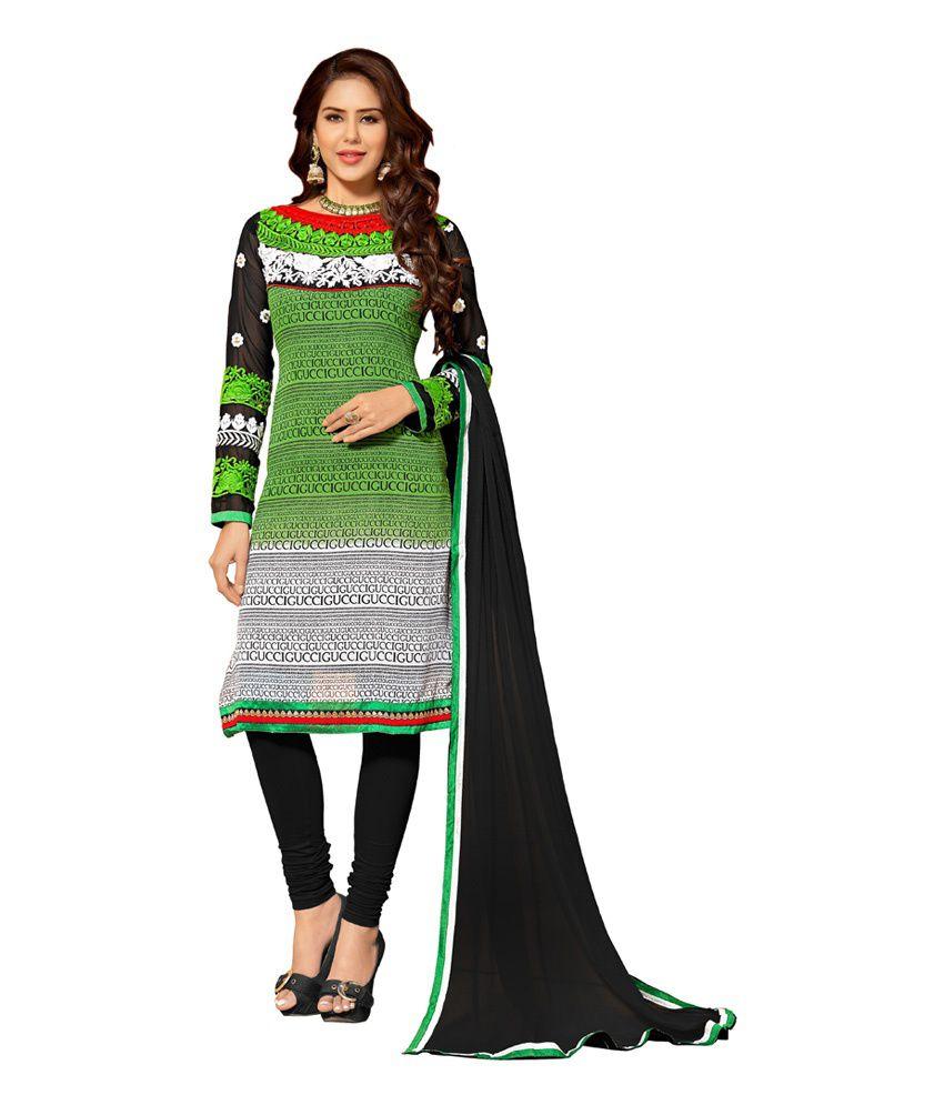 Sai Enterprise Black Pure Georgette Hand Embroidery Salwar Suit