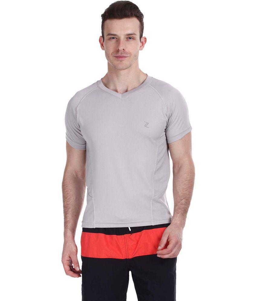 Zobello Gray Polyester Fitness T Shirt