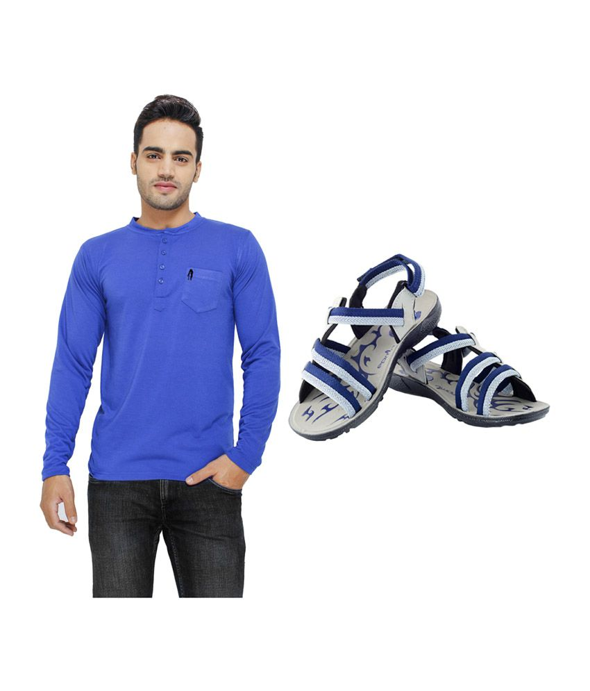 Eprilla Blue Cotton T-Shirt with Sandals (Pack of 2)