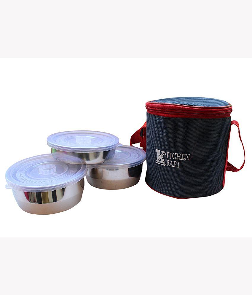 Kitchen Kraft Round Steel Lunch Box Set Of 4 Buy Online At Best