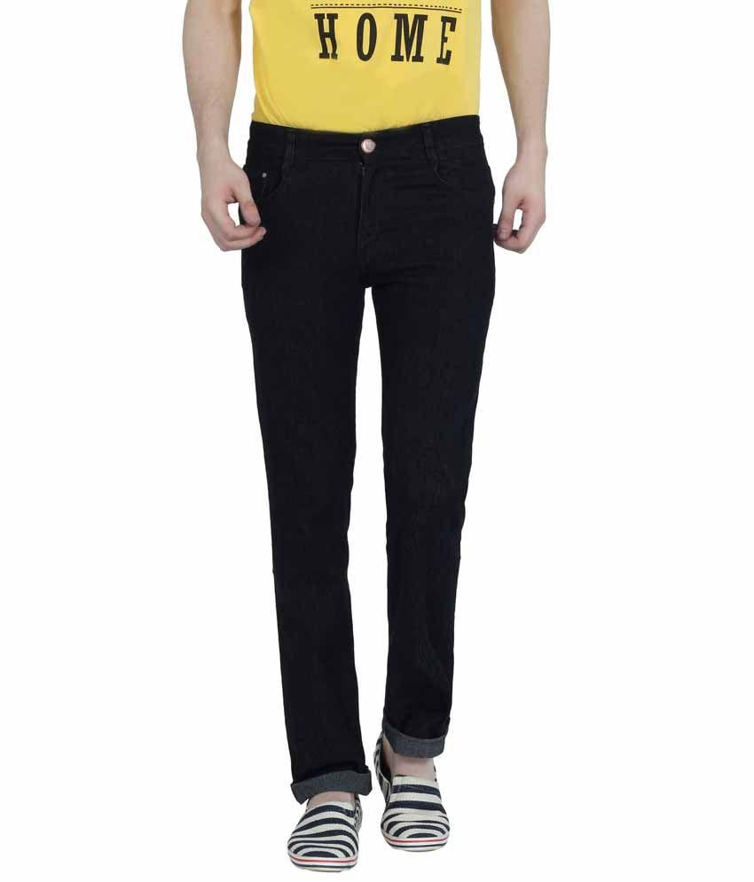 Louppee Black Cotton Blend Regular Fit Jeans For Men