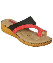 Zachho Black & Red Slippers