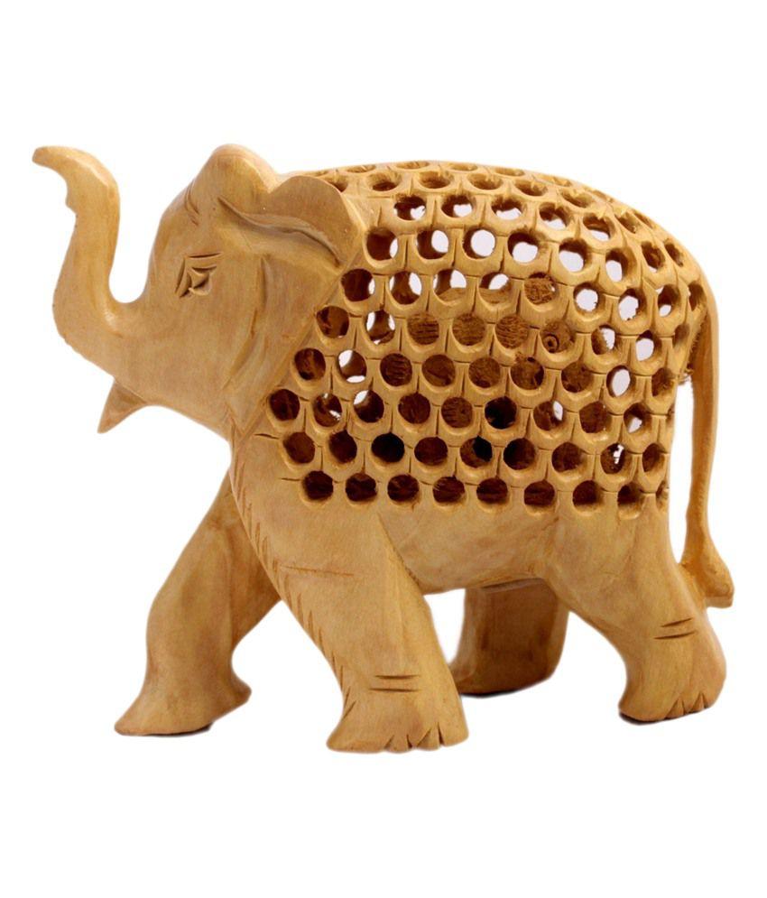 Amazing India Hand Carved Elephant Wooden Jali Figurine Statue