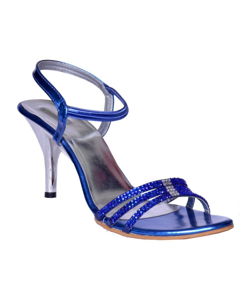 Heels N Wedges Blue Faux Leather Party Wear Sandal