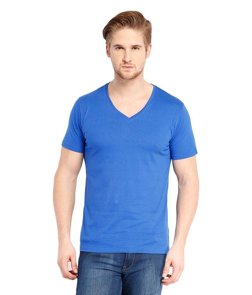 Highlander Blue Cotton V-Neck T-Shirt