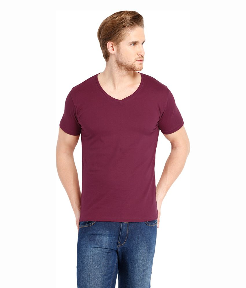 Highlander Maroon Cotton V-Neck T-Shirt