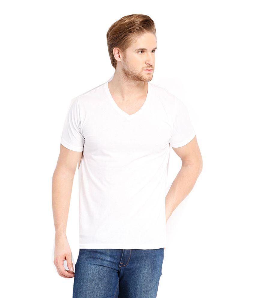 Highlander White Cotton V-Neck T-Shirt
