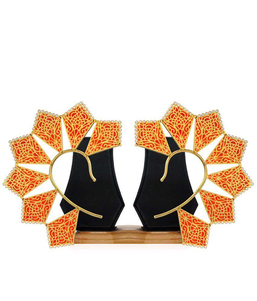 Rasm Jewels Antique Golden Drops Alloy Earrings