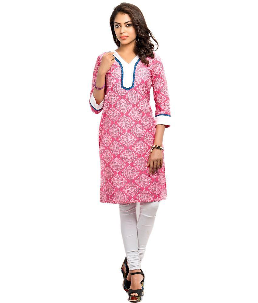 Almas Pink Printed Cotton Kurti