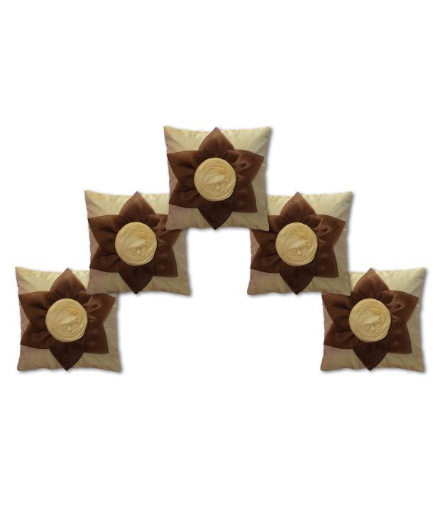 Houseattire Floral Poly Cotton Cushion Covers Pack of 5