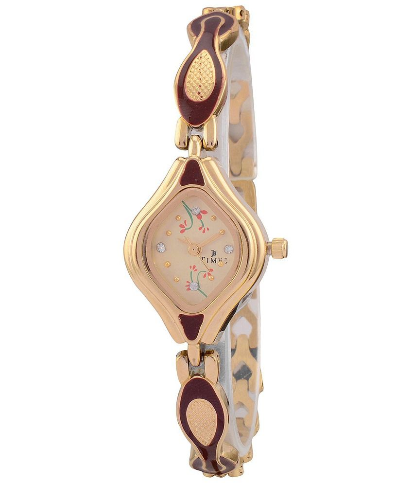 Times Beige Square Analog Party wedding Watch For Women