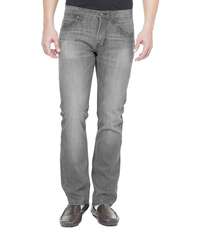 Zovi Regular Fit Light Gray Solid Denim Jeans