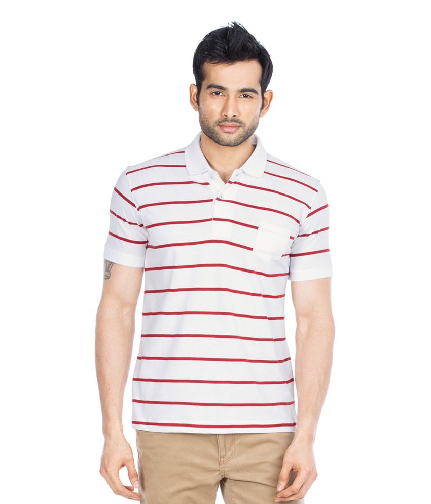 Zovi snow white red striped polo t shirt buy zovi snow for Red white striped polo shirt