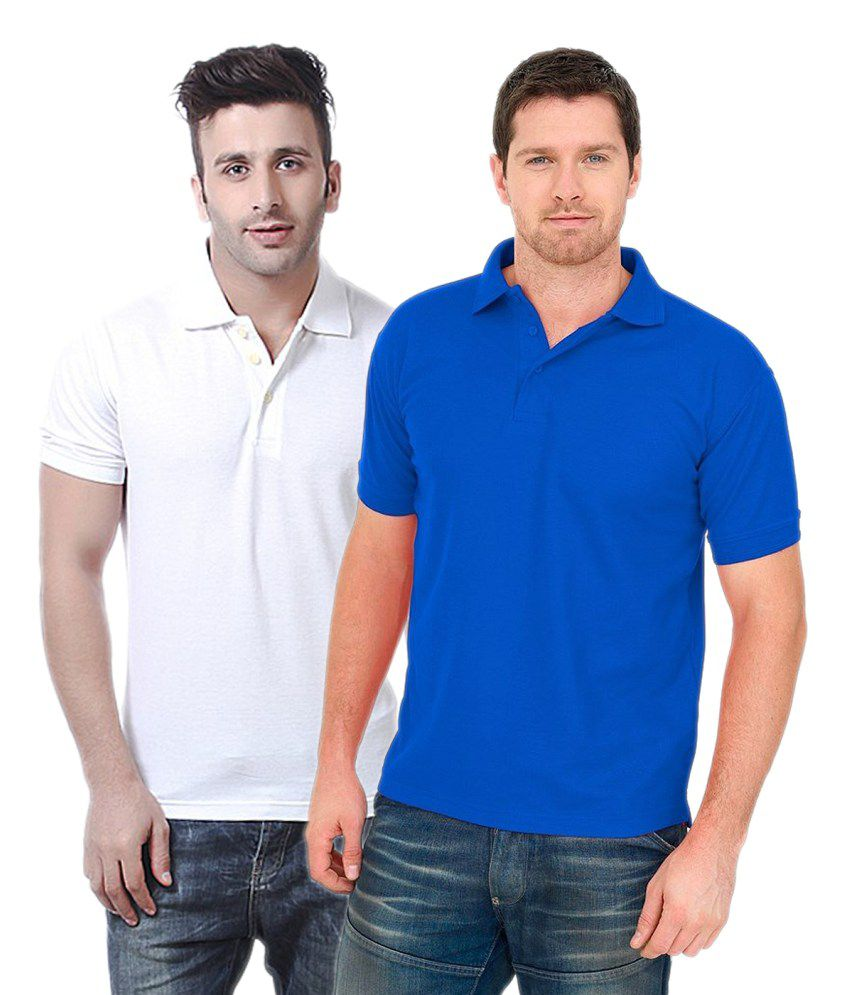 Concepts Cotton Blend Polo T-shirts Blue & White (Pack Of 2)