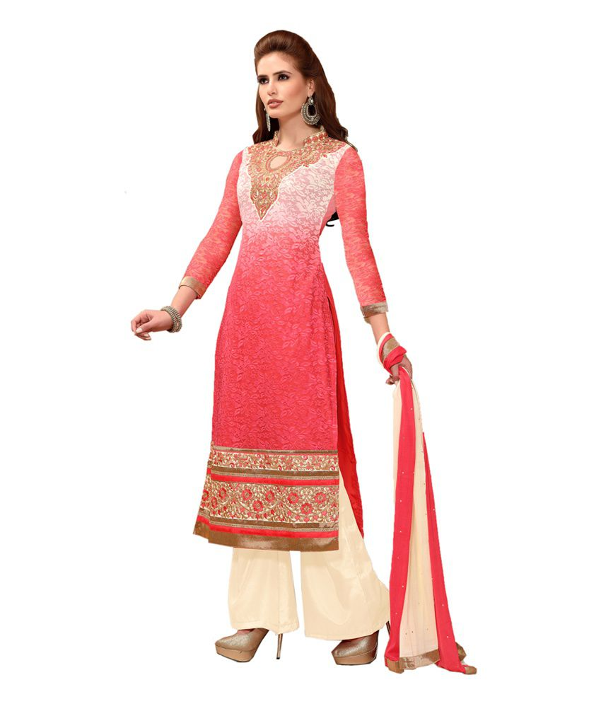 Shonaya Pink Georgette Embroidered Salwar Suit with Dupatta
