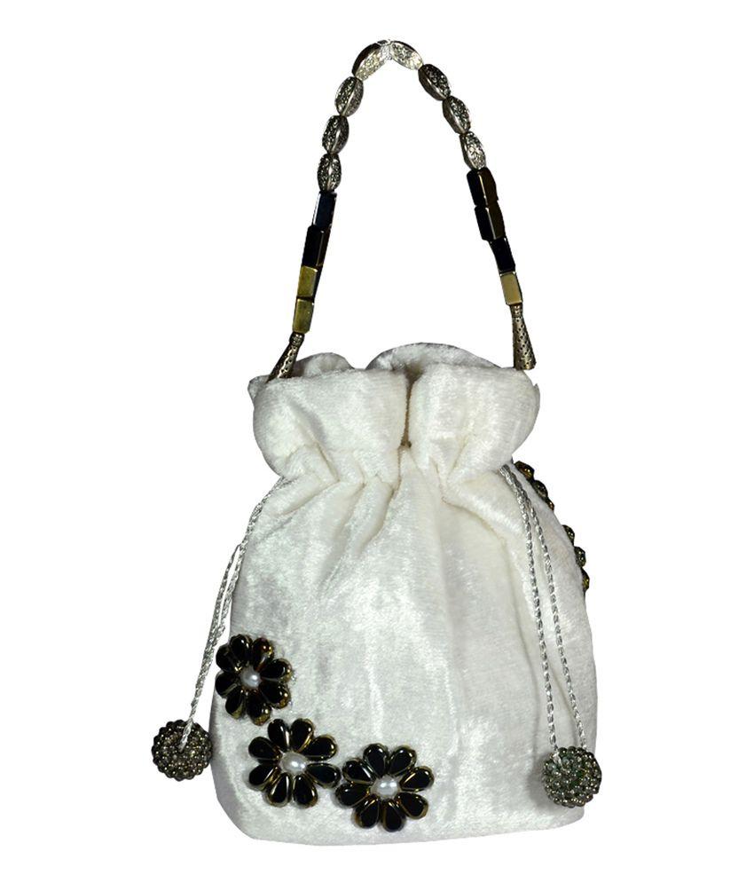 Arisha Kreation Co White Clasp Shoulder Bags