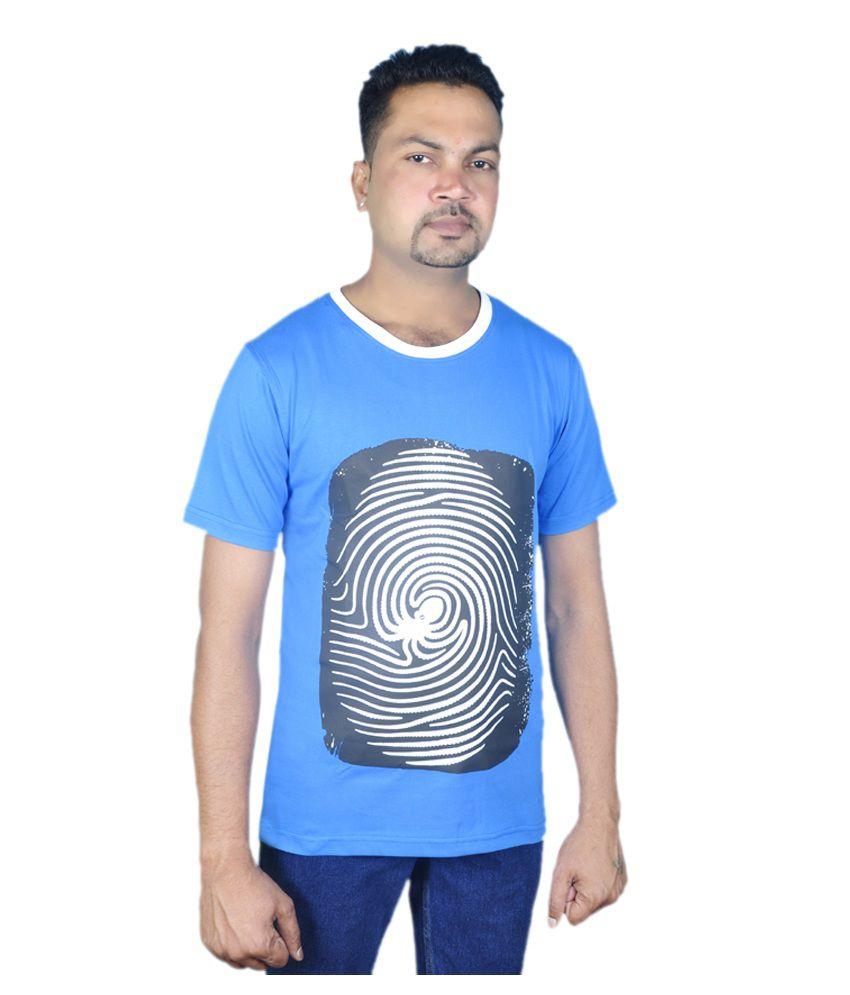 Josh Button Blue Cotton Round Neck T Shirt