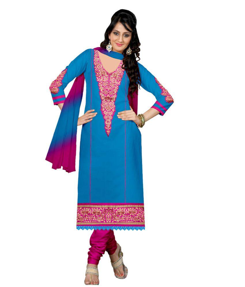 Khwaish Blue Cotton Unstitched Dress Material