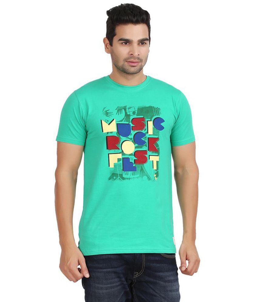 Moonwalker Green Printed Round Neck Cotton T-shirt