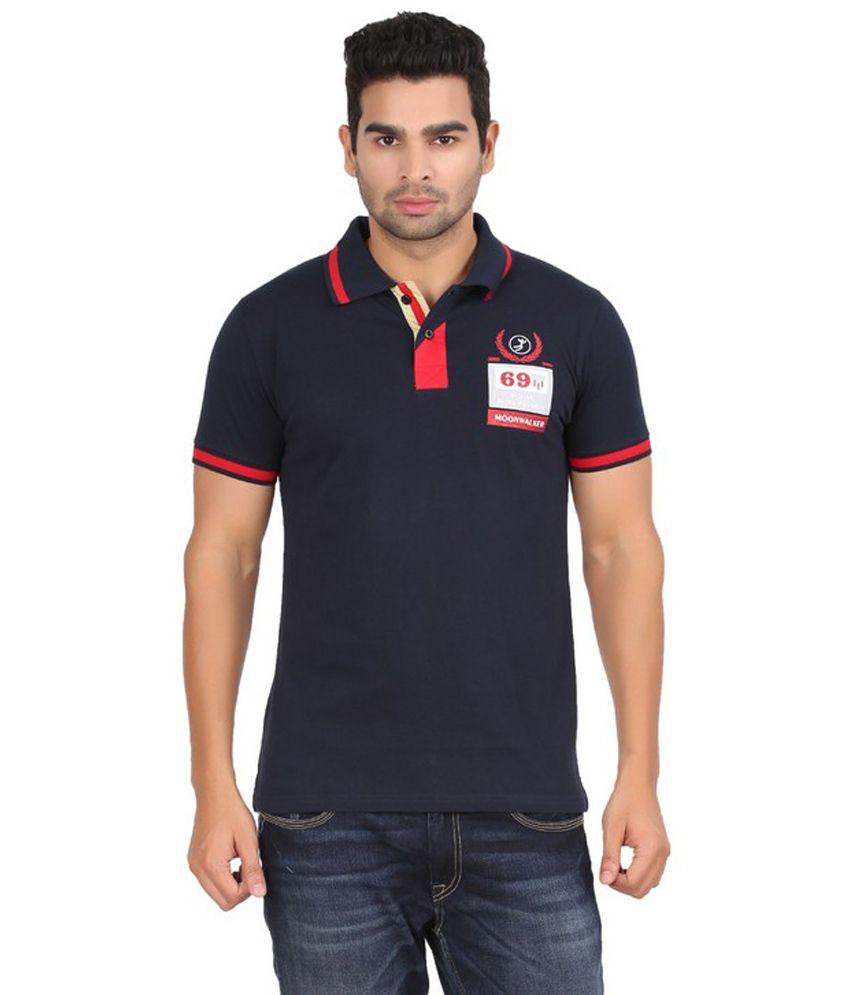 Moonwalker navy printed cotton polo t shirt buy for Polo t shirt printing