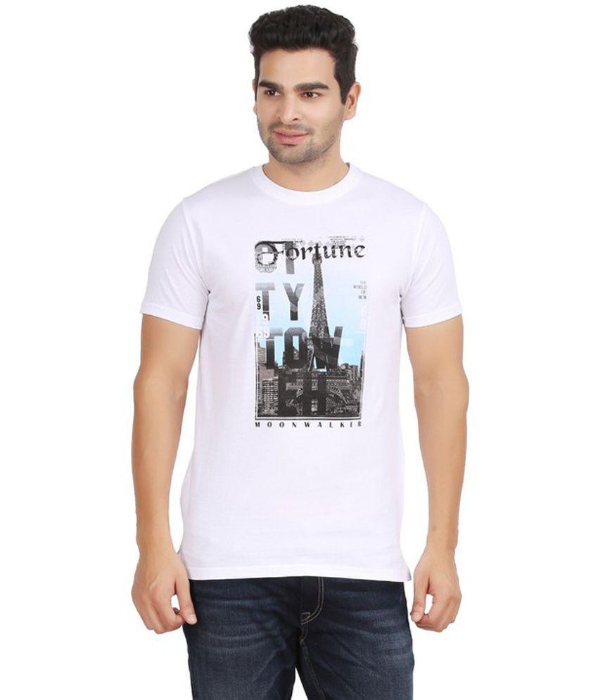Moonwalker White Printed Round Neck Cotton T-shirt