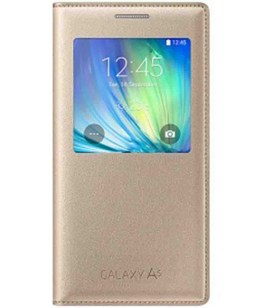check out 3a5d5 5835d Samsung Galaxy A5 Flip Cover by Samsung - Golden