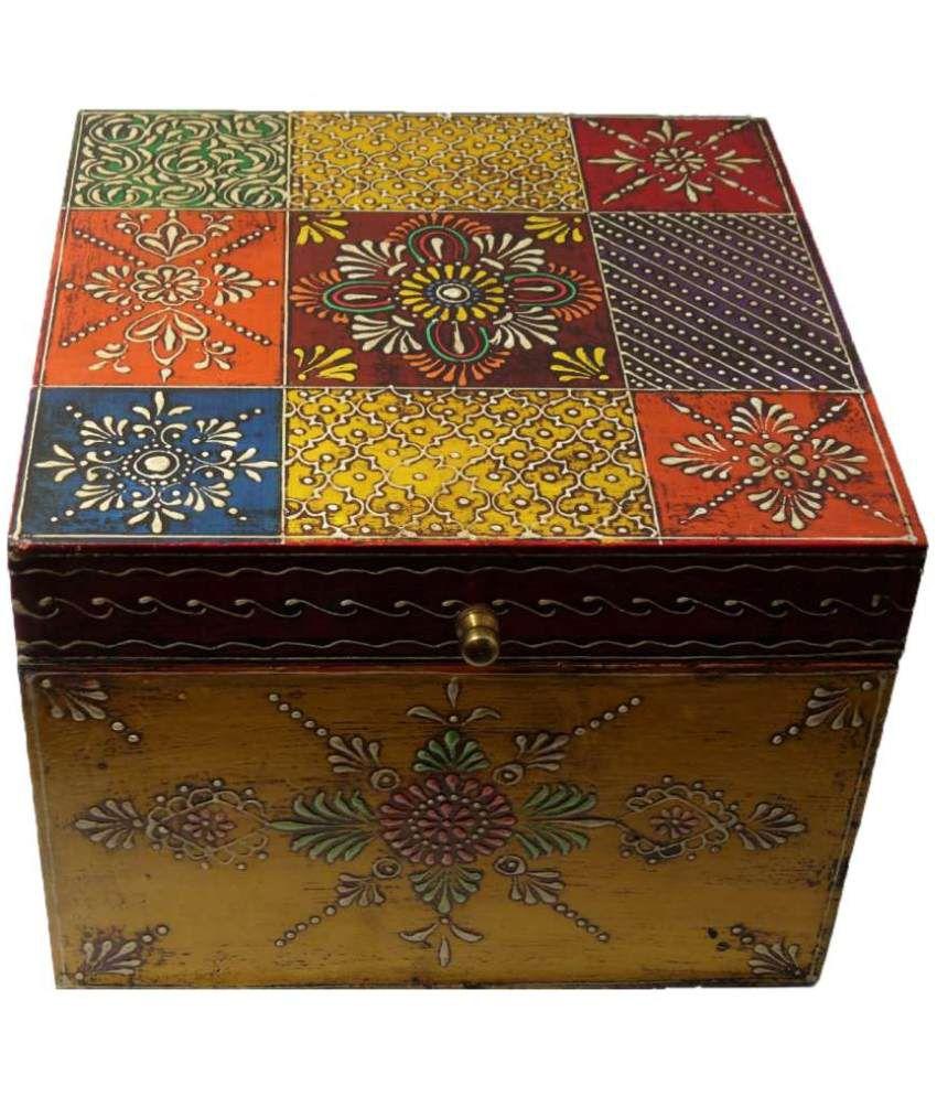 Rajasthani Big Square Wooden Jewellery Box