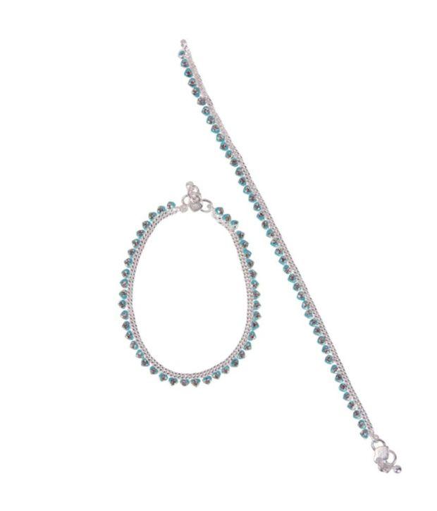 Taj Pearl Blue Heart Silver Plated Anklets