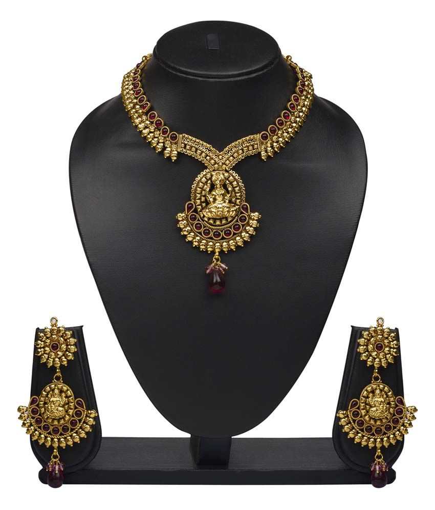 Vk Jewels Laxmi Gold Plated Temple Antique Necklace Set