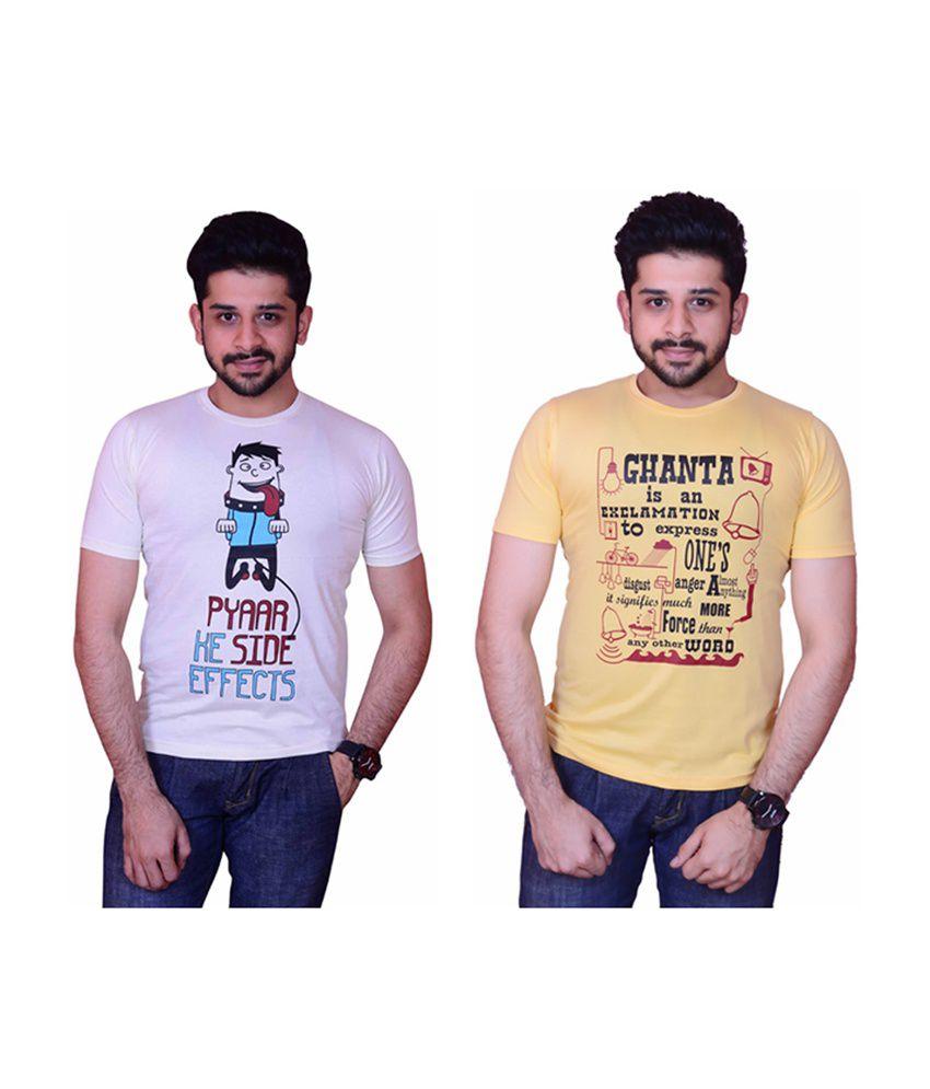 Inez Trendy White & Yellow Printed Round Neck T-Shirt (Pack of 2)