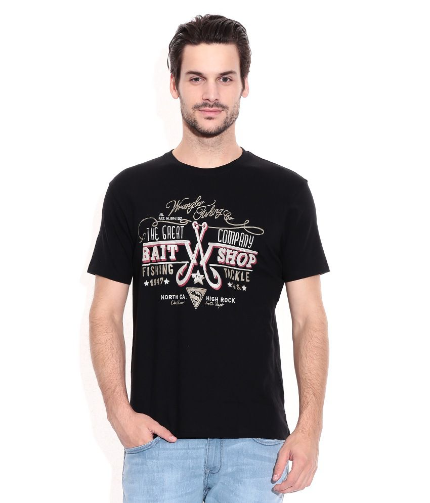 Wrangler Black Printed Round Neck T-Shirt