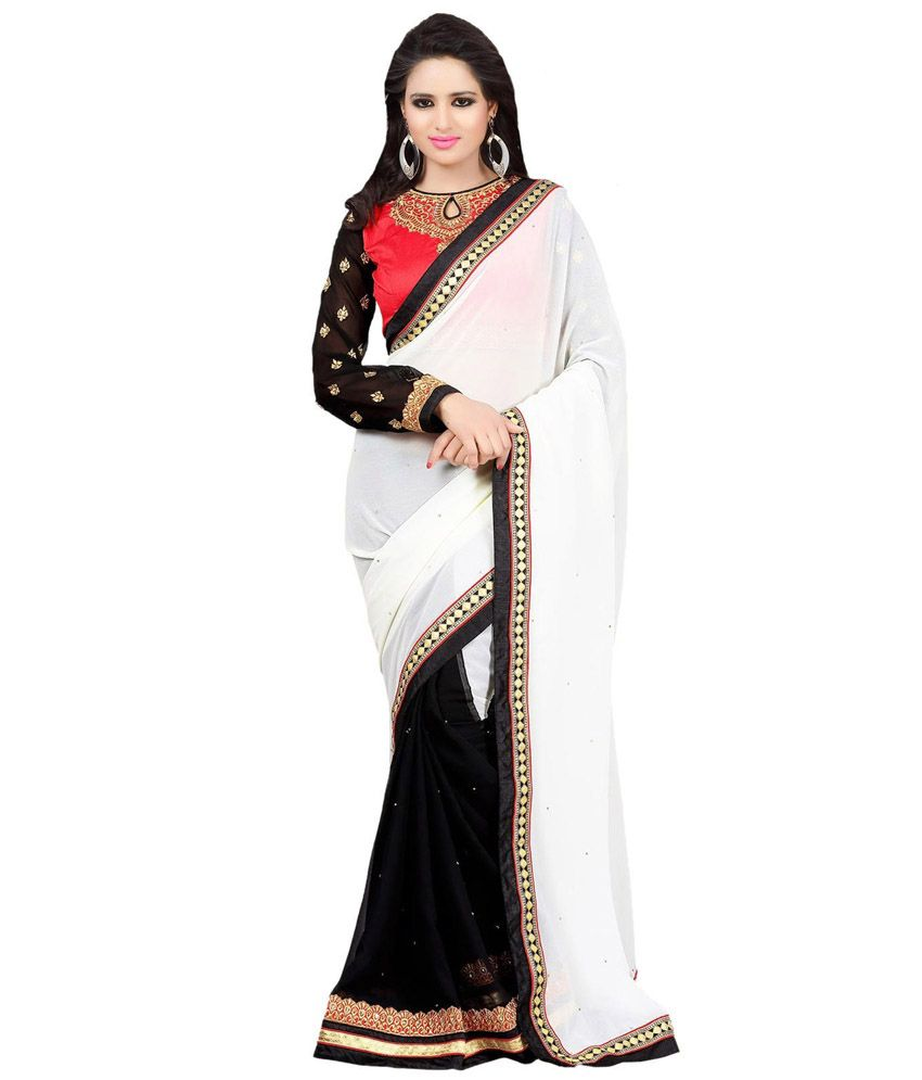 Ethnic Station White Cotton Silk Saree