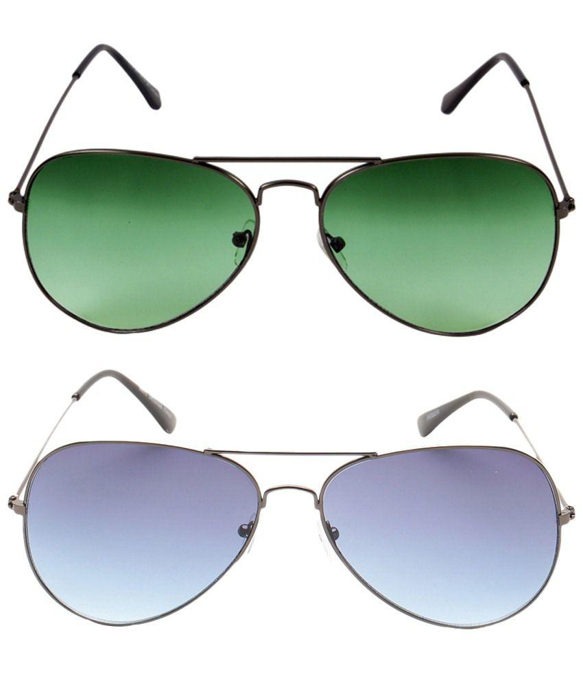 Fedrigo Voguish Combo Of Green & Blue Aviator Premium Sunglasses