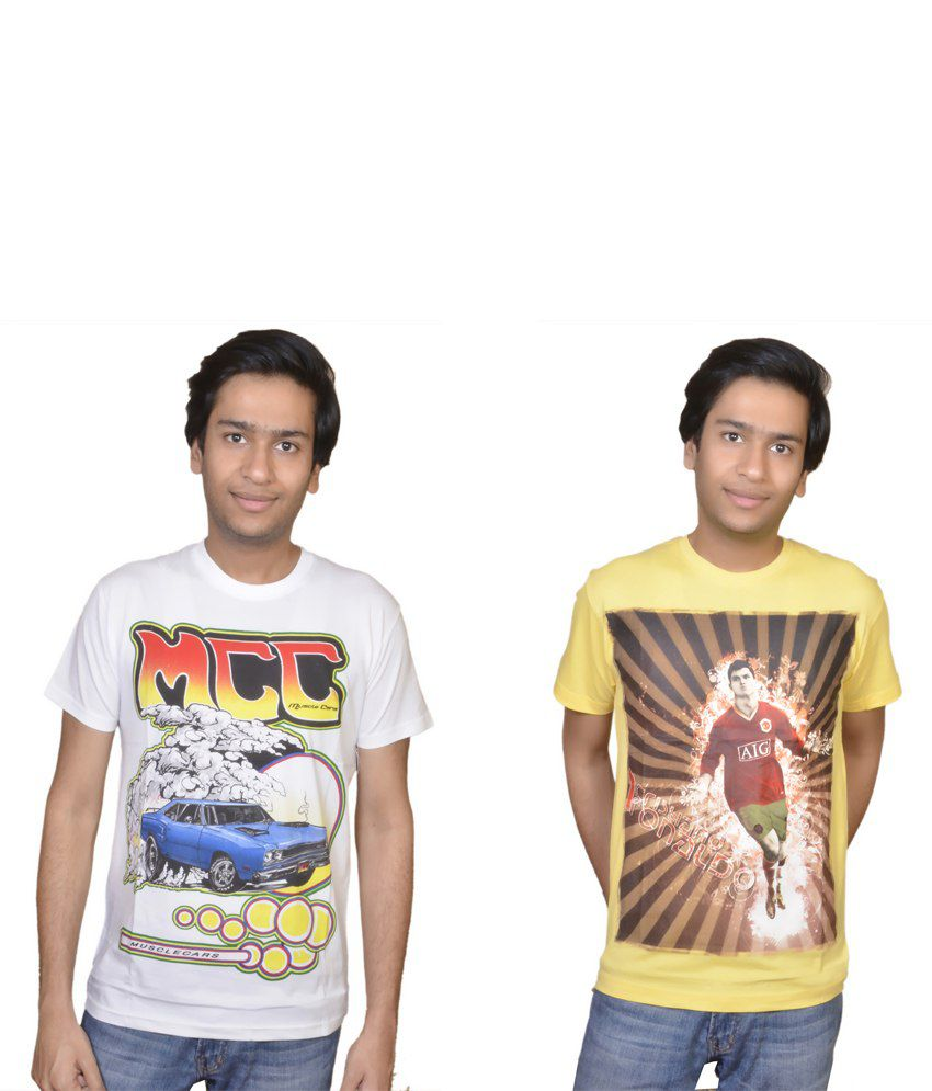 Combo Pack Of 2 Printed White And Yellow Colour Cotton T-shirts