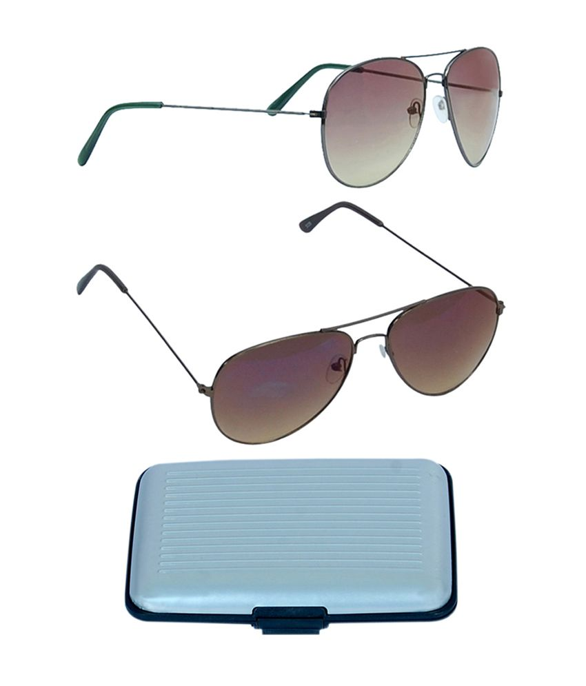Kvell Be Proud Exclusive Combo of Assorted Card Holder, Brown Lens Aviator (KS-009) & Smart Green-Brown Lens Aviator (KS-010)