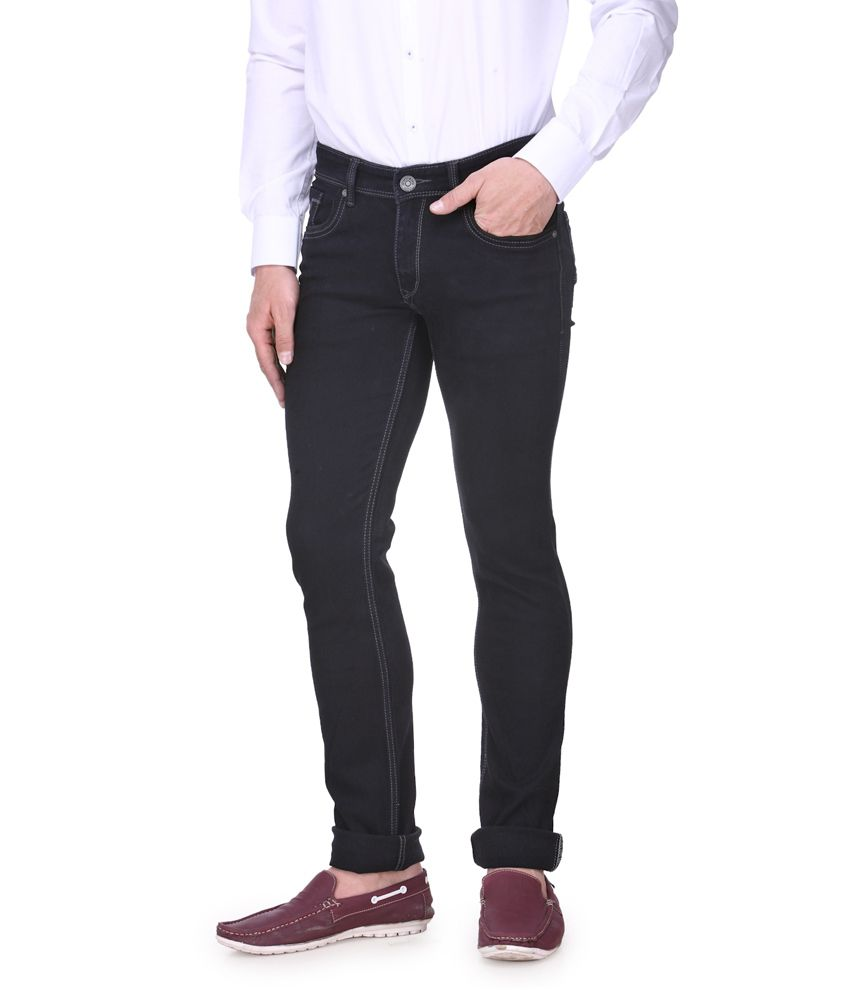 Vintage Black Cotton Basics Tapered Denim jeans