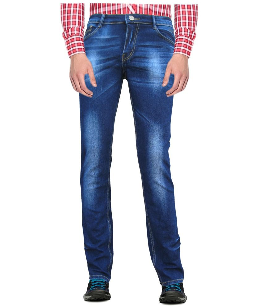 White Pelican Dark Blue Cotton Blend Stretchable Slim Fit Jeans For Men