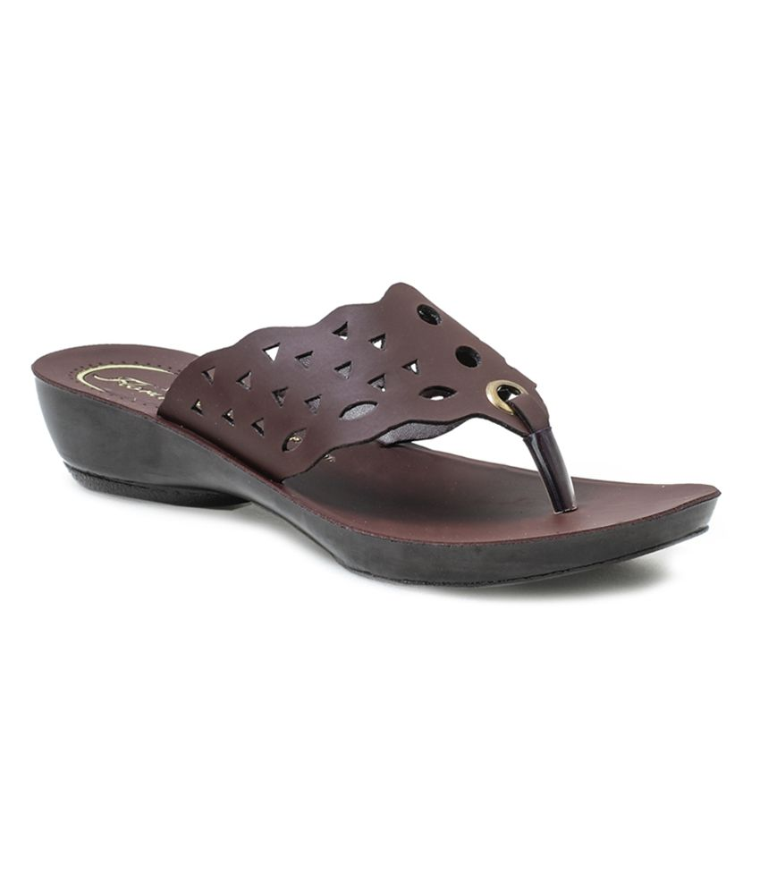 Action Shoes Brown Synthetic Pretty Flat Heel Slipper