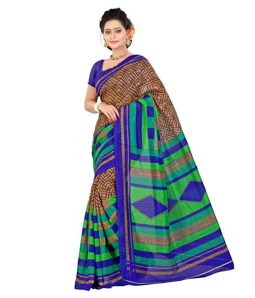Lookslady Brown Bhagalpuri Silk Saree