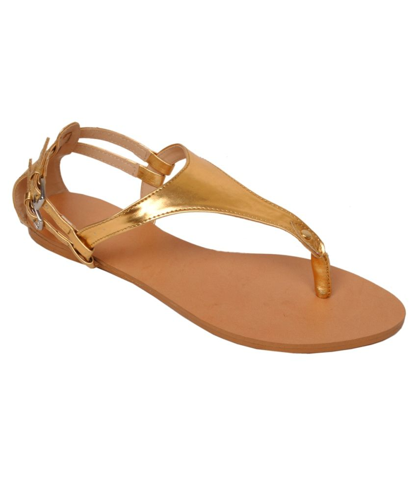 Potente Gold Rubber Ankle Strap Patent Sandal For Women