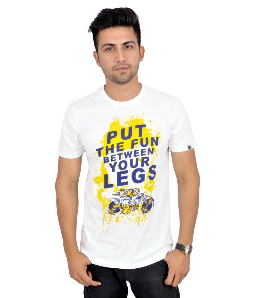 Sparkk White Cotton Round Neck T-Shirt