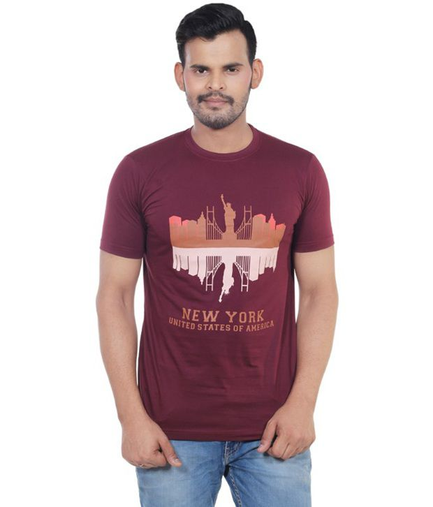 Vacuum Maroon Half Sleeves Printed Cotton T-Shirt