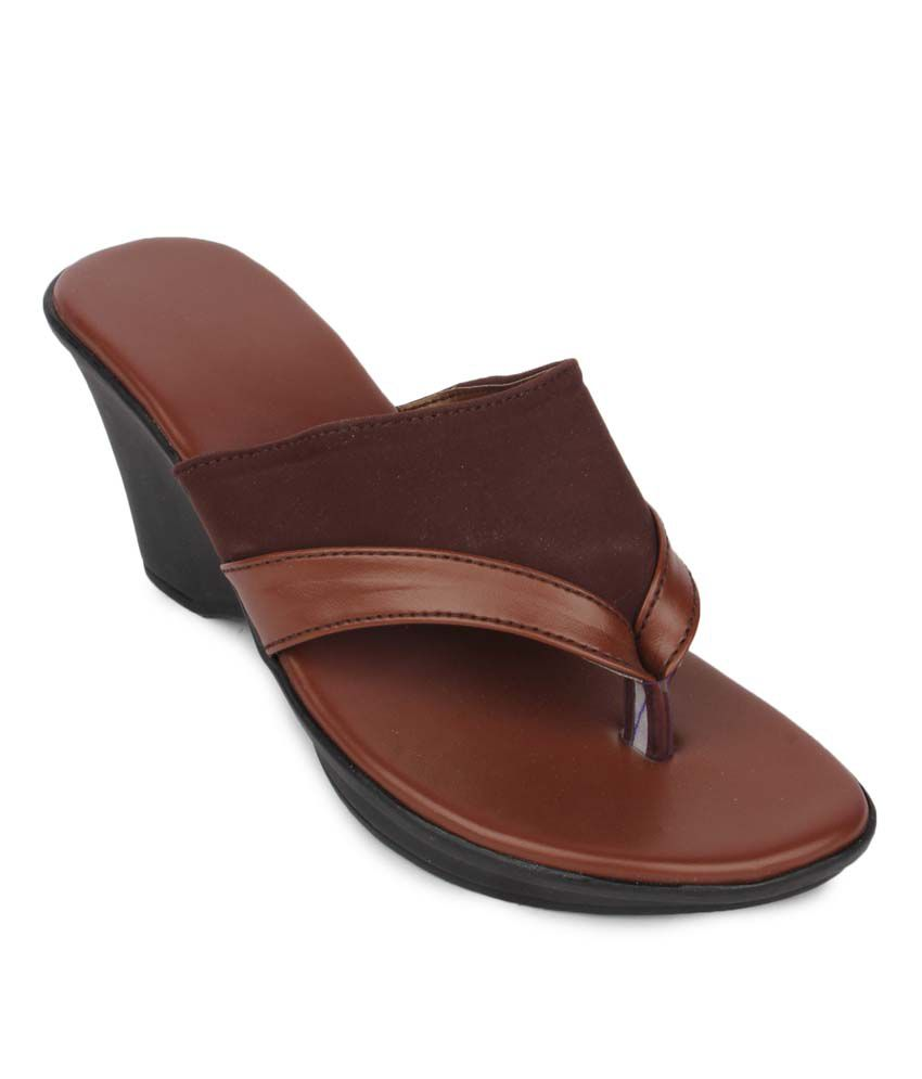 Aris Mart Brown Faux Leather Back Open Open Toe Heeled Sandals